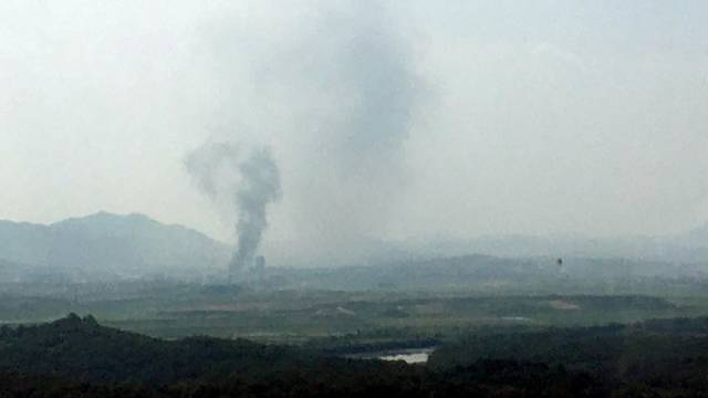Smoke rises from Kaesong Industrial Complex in this picture taken from the south side in Paju