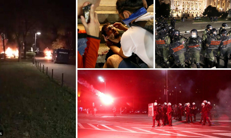 Policija na konjima rastjeruje prosvjednike, bacaju i suzavac, zapaljeni policijski automobili