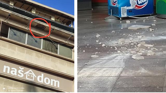 Odlomio se komad betona na riječkom Korzu: 'Sreća pa nije palo na nikog, ubilo bi ga'