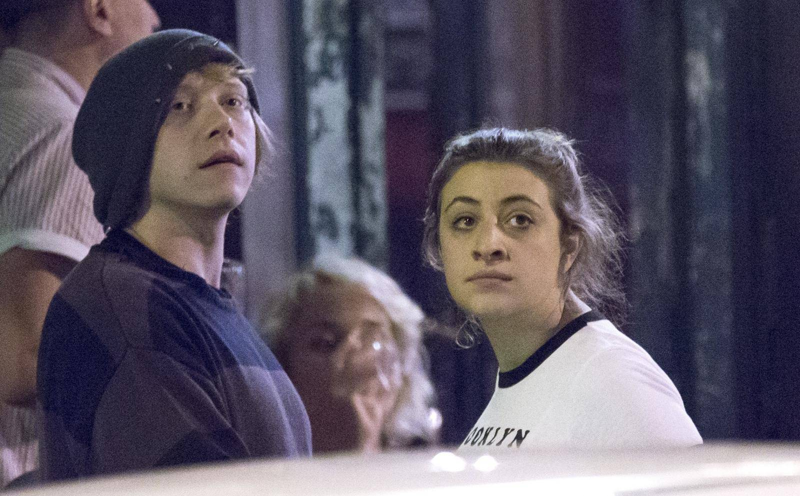 EXCLUSIVE Rupert Grint having a drink with Iwan Rheon, Rheon's girlfriend Zoe Grisedale and friends at a bar in Kraków
