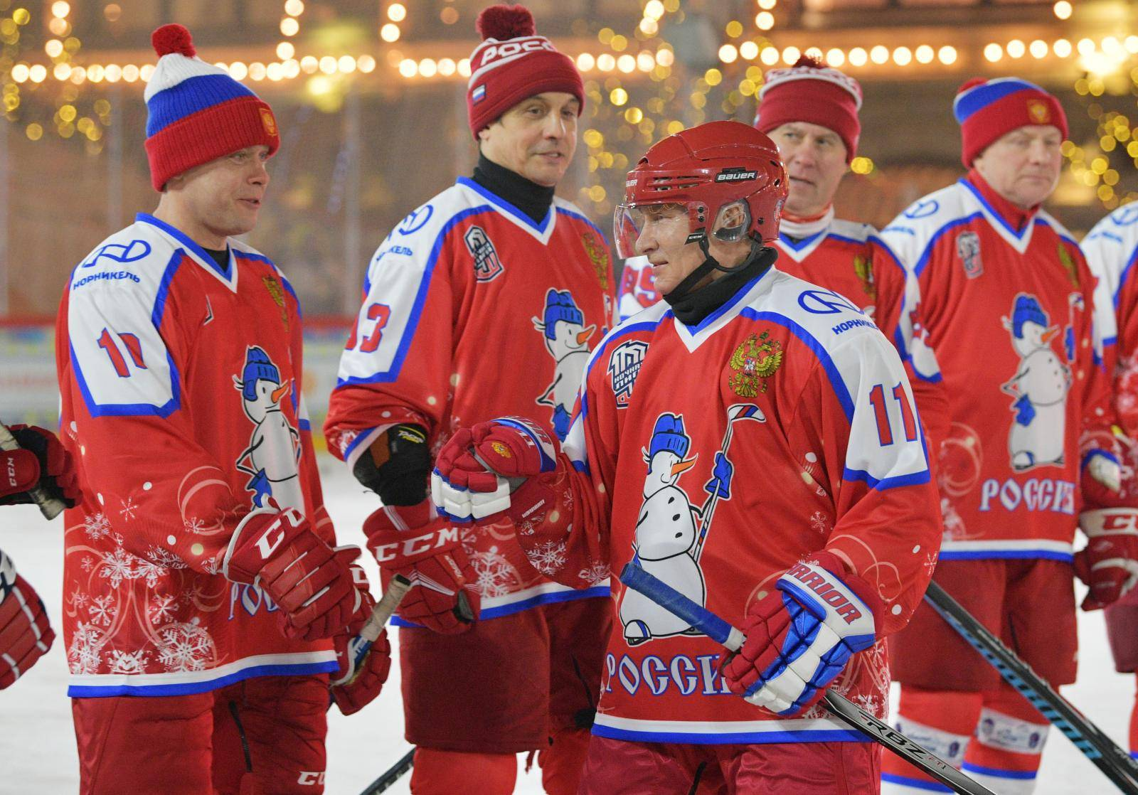 Russian President Putin plays ice hockey in Moscow