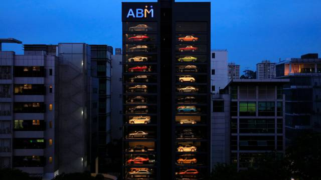 An exotic used car dealership designed to resemble a vending machine in Singapore