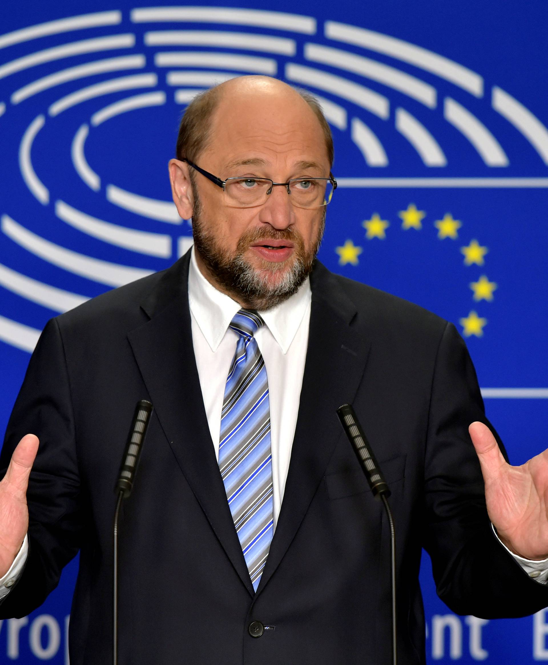 EP President Schulz gives a statement after the conference of Presidents at the European Parliament in Brussels