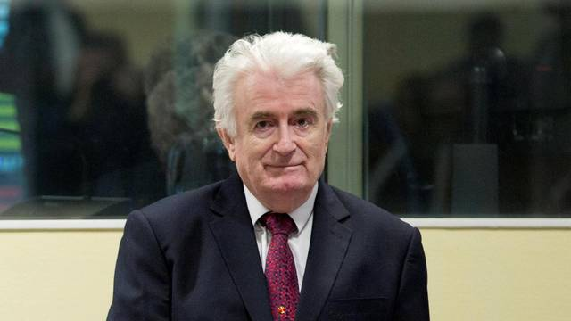 "Former Bosnian Serb leader Radovan Karadzic appears before the Appeals Chamber of the International Residual Mechanism for Criminal Tribunals (""Mechanism"") ruling on a appeal of his 40 year sentence for war crimes in The Hague"