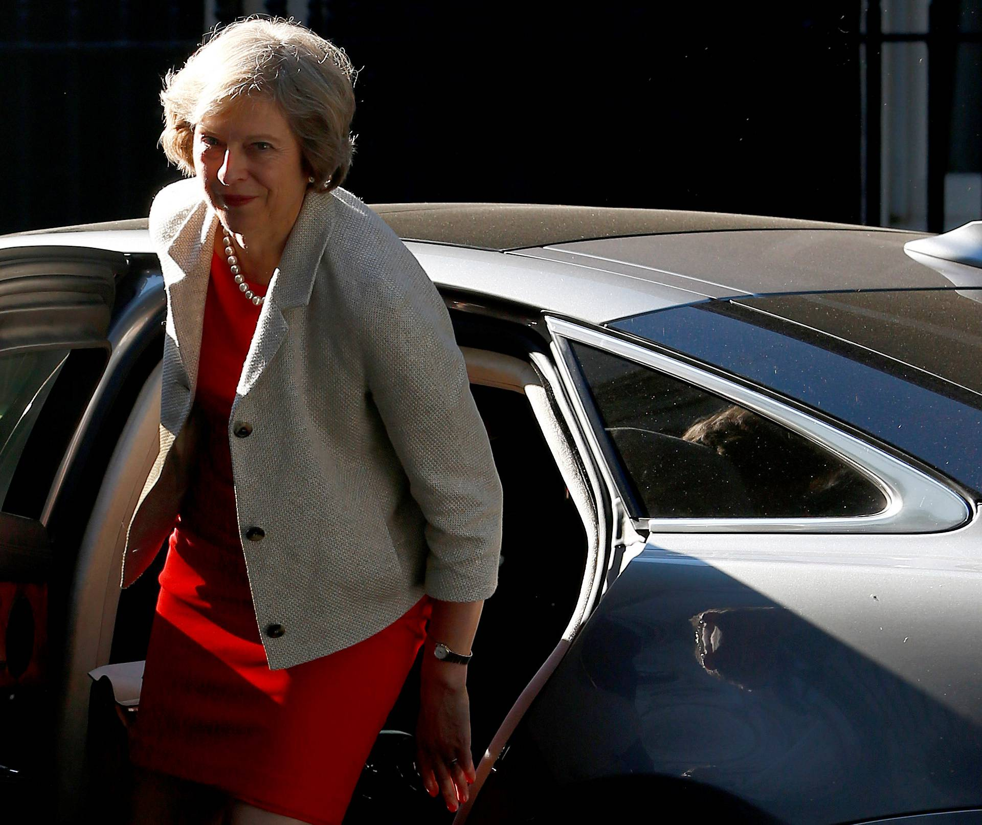 Britain's Prime Minister Theresa May arrives at Downing Street in London