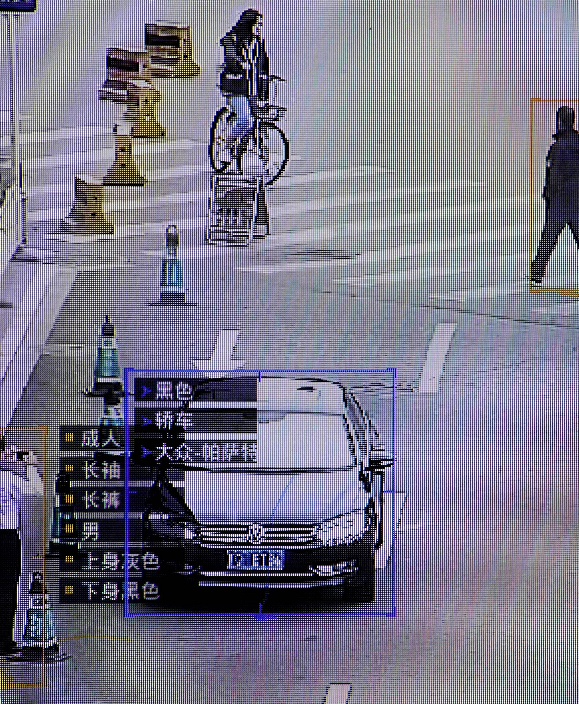 FILE PHOTO: SenseTime surveillance software identifying details about people and vehicles runs as a demonstration at the company's office in Beijing