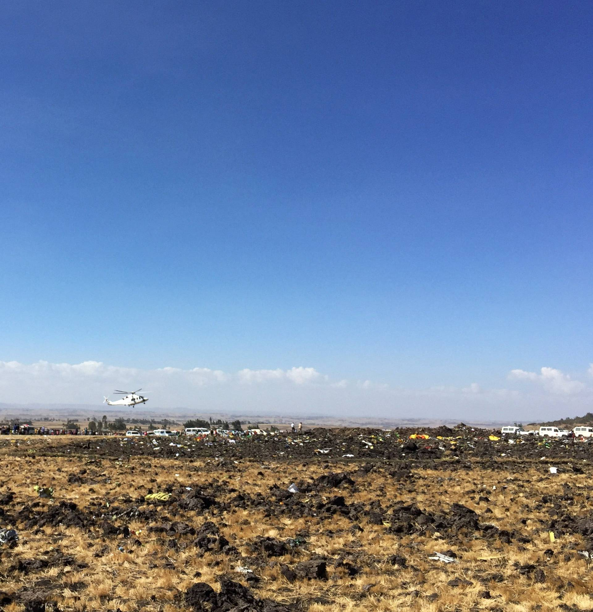 A general view shows the scene of the Ethiopian Airlines Flight ET 302 plane crash, near the town of Bishoftu, southeast of Addis Ababa