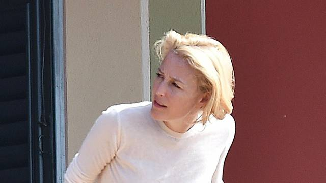 *EXCLUSIVE* *WEB MUST CALL FOR PRICING**Actress Gillian Anderson and Peter Morgan in Portofino