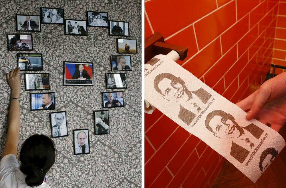 Prvi Putinov kafić: Vladimir na zidu, a Barack na toalet papiru