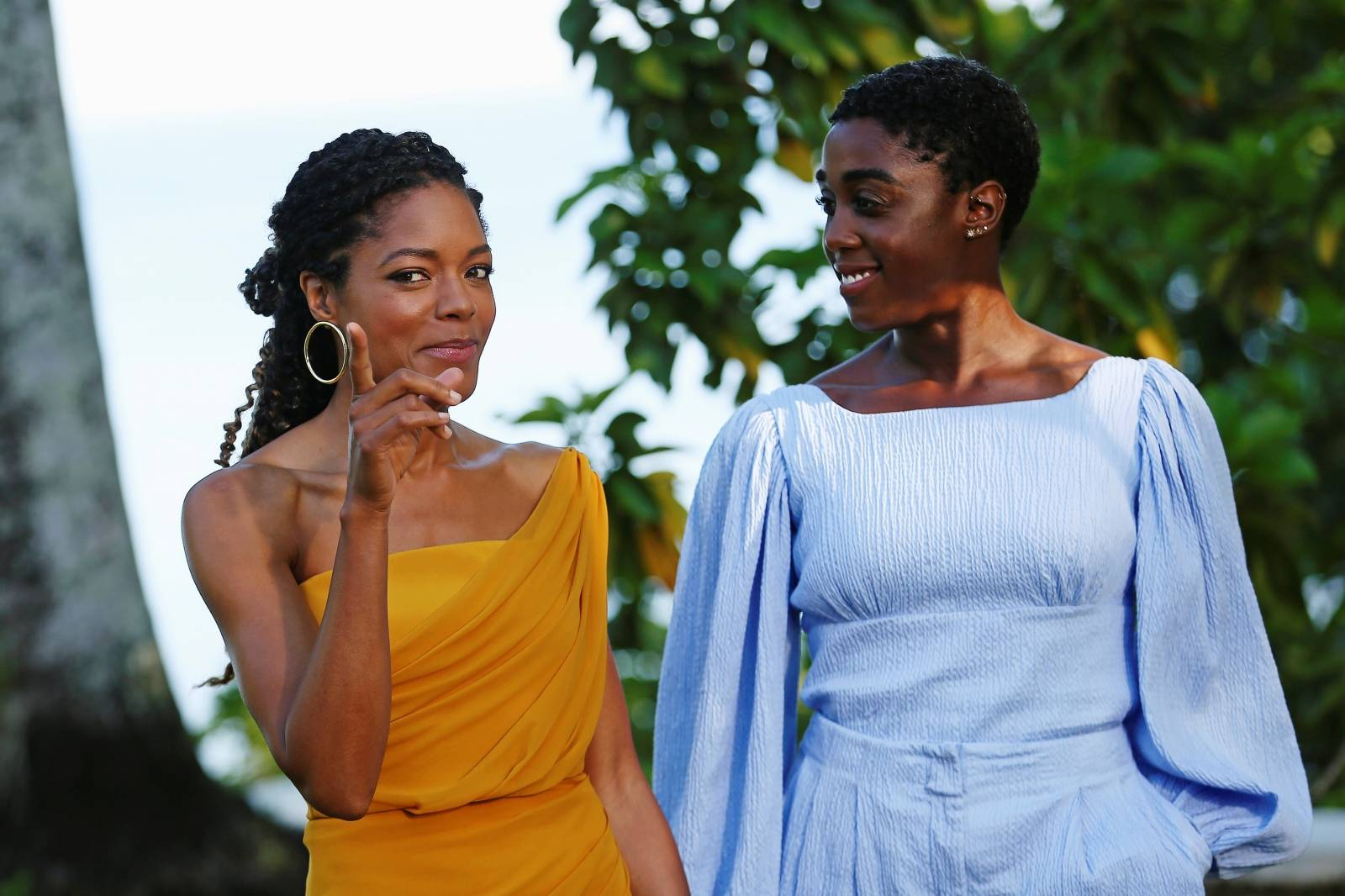 "Actors Naomie Harris and Lashana Lynch pose for a picture during a photocall for the British spy franchise's 25th film set for release next year, titled ""Bond 25"" in Oracabessa"