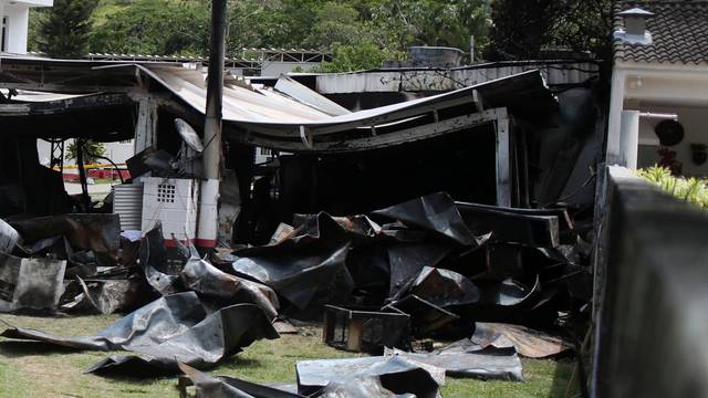 A destroyed area of the Flamengo soccer club's training center is pictured after a deadly fire, in Rio de Janeiro