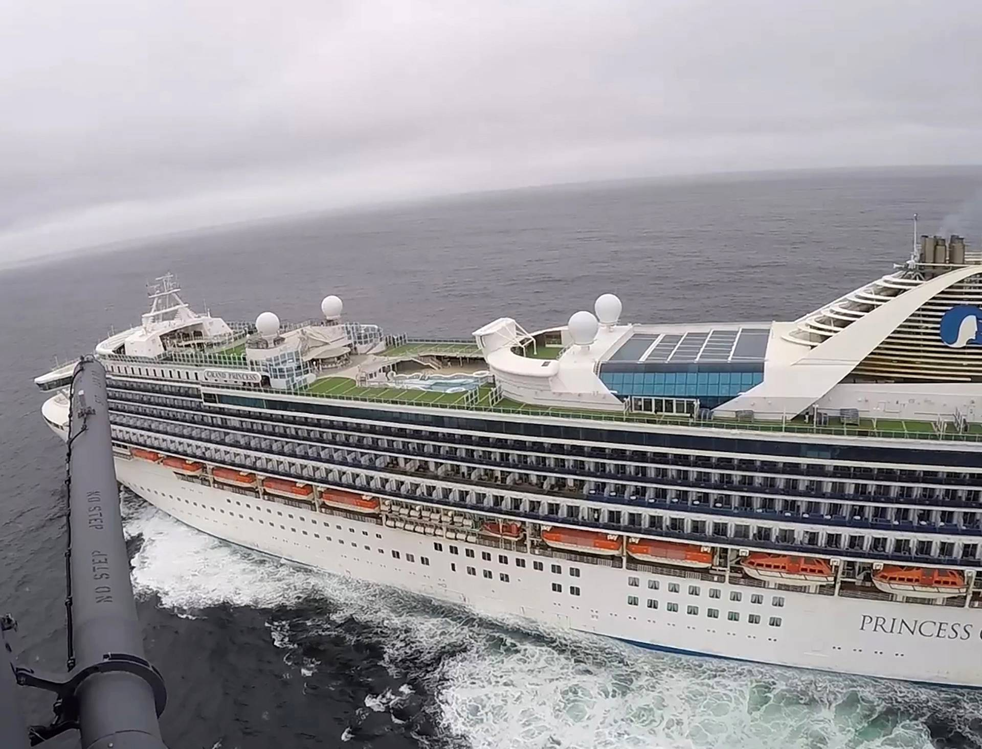 Grand Princess cruise ship circles off the coast of California