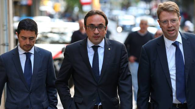 Josep Rull, sacked Catalan regional government head of sustainable development, arrives to a PdeCat (Catalan Democratic Party) meeting in Barcelona