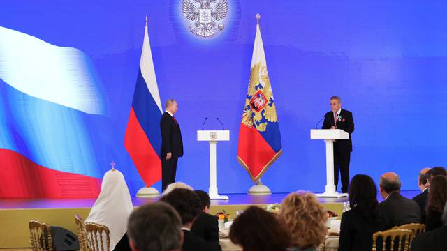 Russian President Vladimir Putin attends an award ceremony during the National Unity Day, in Moscow