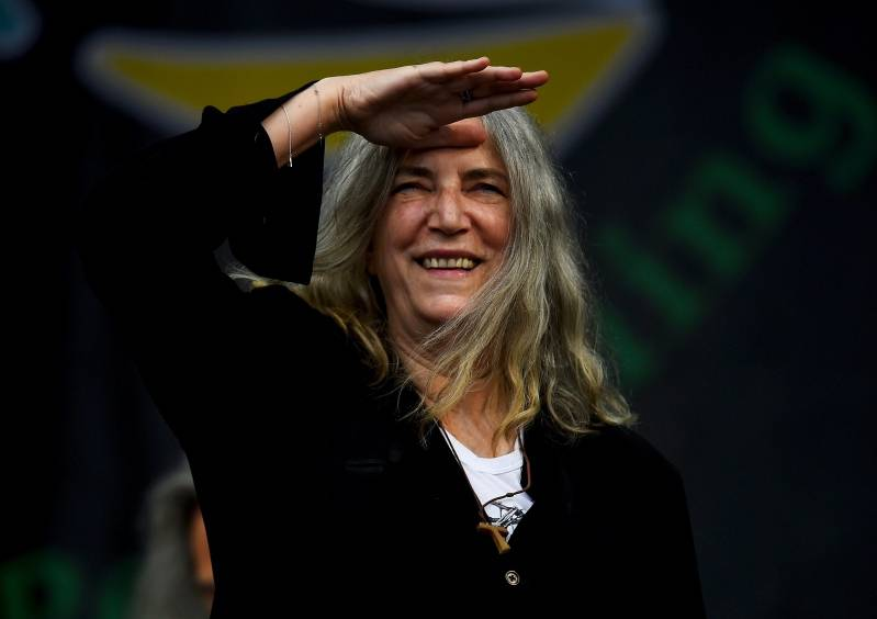 Patti Smith performs on the Pyramid stage at Worthy Farm in Somerset during the Glastonbury Festival