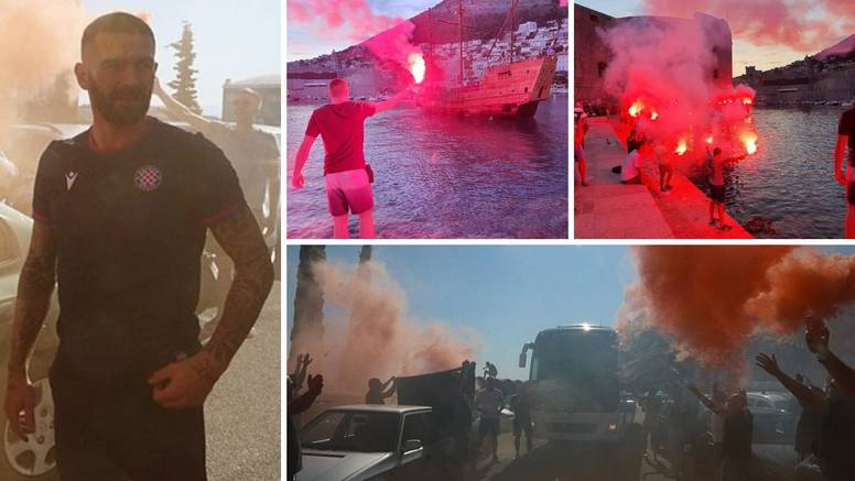 Veličanstven doček za Hajduk: Torcida je 'zapalila' Dubrovnik, a Livaja izašao iz busa proslaviti
