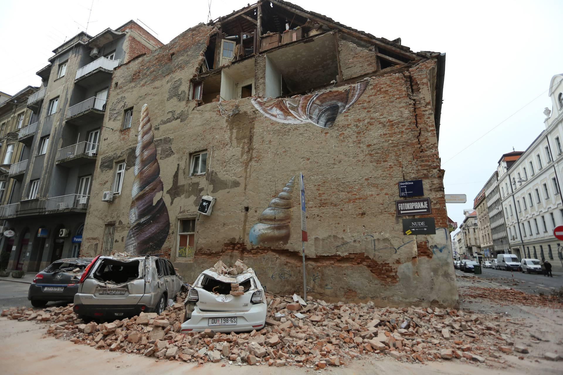 Potres koji je pogodio Zagreb uzrokovao veliku štetu u Đorđićevoj ulici