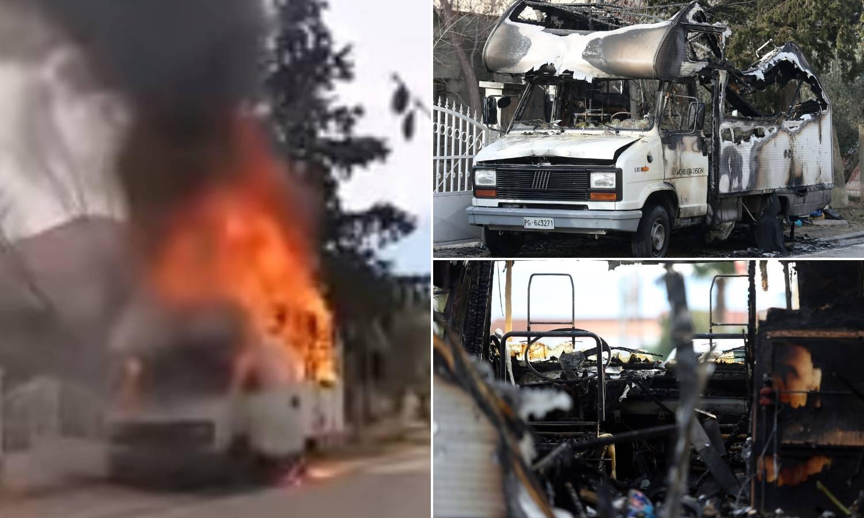 Gusti dim i plamen su sukljali u nebo: Kamper potpuno izgorio