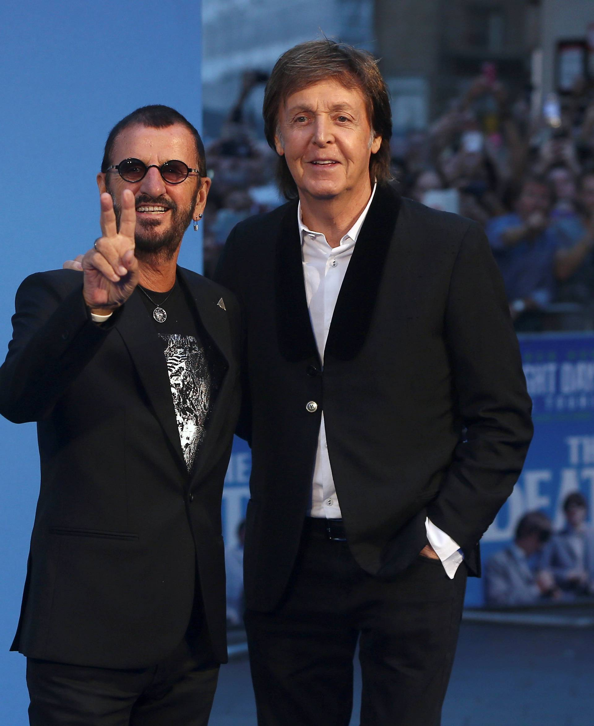 FILE PHOTO: Former Beatles Ringo Starr and Paul McCartney attend the world premiere of The Beatles: 'Eight Days a Week - The Touring Years' in London