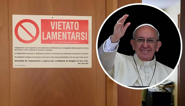Papa Franjo na svoja ulazna vrata stavio znak 'Ne kukajte'