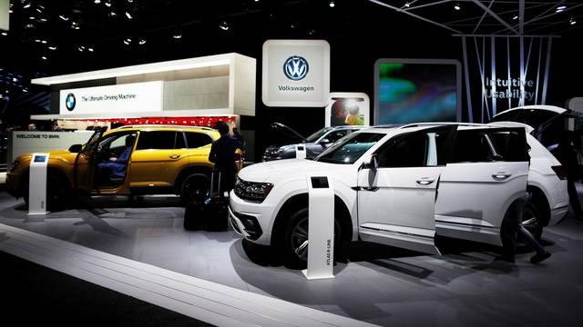 Volkswagen Atlas R-Line SUVs are displayed during the North American International Auto Show in Detroit