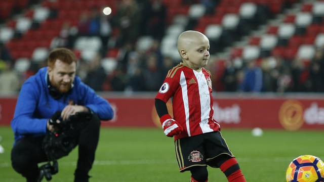 Sunderland mascot Bradley Lowery kicks a ball before the game