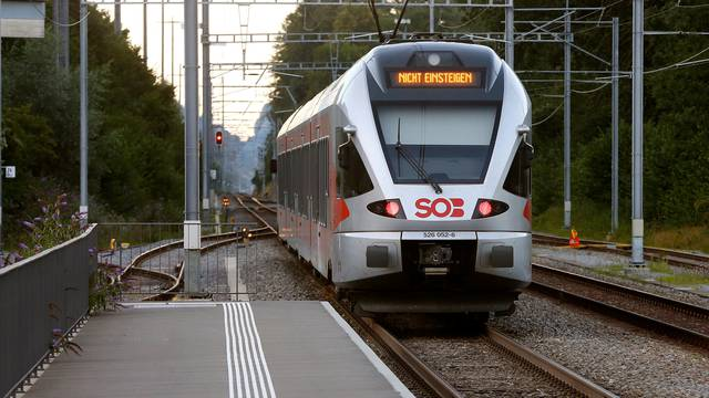 """A display reading """" Do not enter"""" is seen after a 27-year-old Swiss man's attack on a Swiss train at the railway station in Salez"""