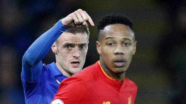 Leicester City's Jamie Vardy and Liverpool's Nathaniel Clyne