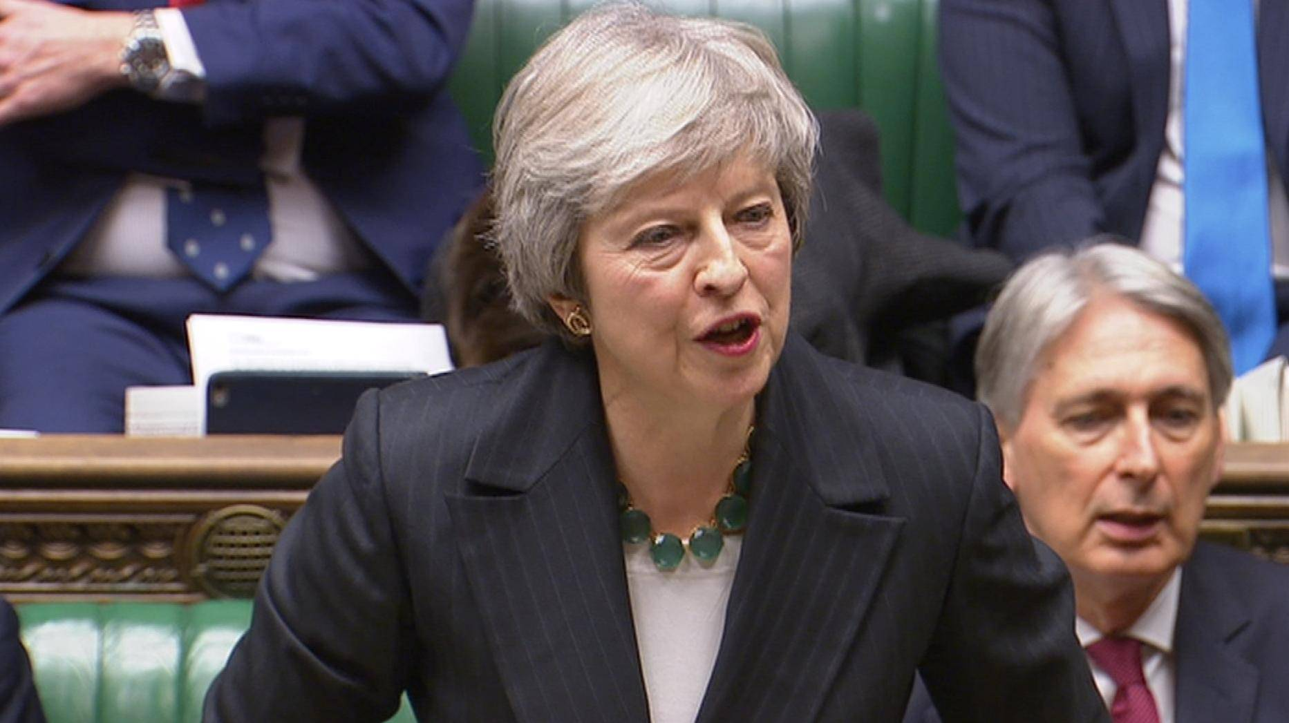 A still image from video footage shows Britain's Prime Minister Theresa May speak about Brexit, in the House of Commons, in central London