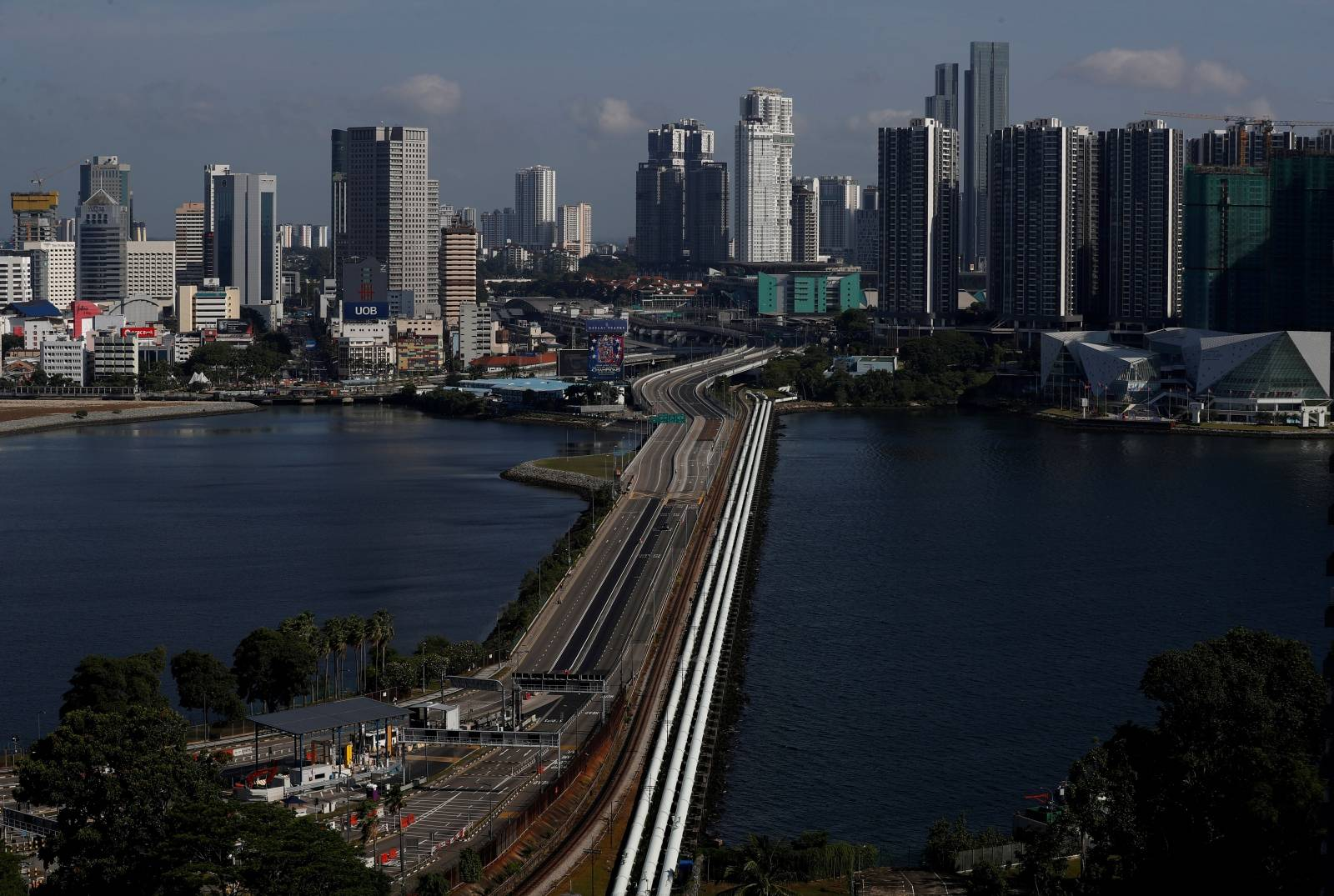FILE PHOTO: A view of the empty Woodlands Causeway between Singapore and Malaysia after Malaysia imposed a lockdown on travel due to the coronavirus disease (COVID-19) outbreak