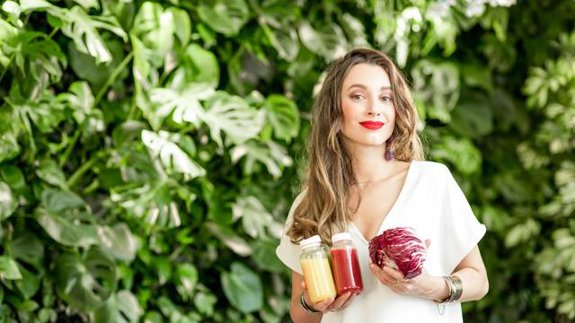 Woman with smoothie drinks