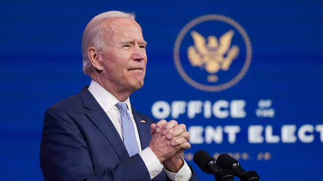 U.S. President-elect Joe Biden holds news conference at transition headquarters in Wilmington, Delaware