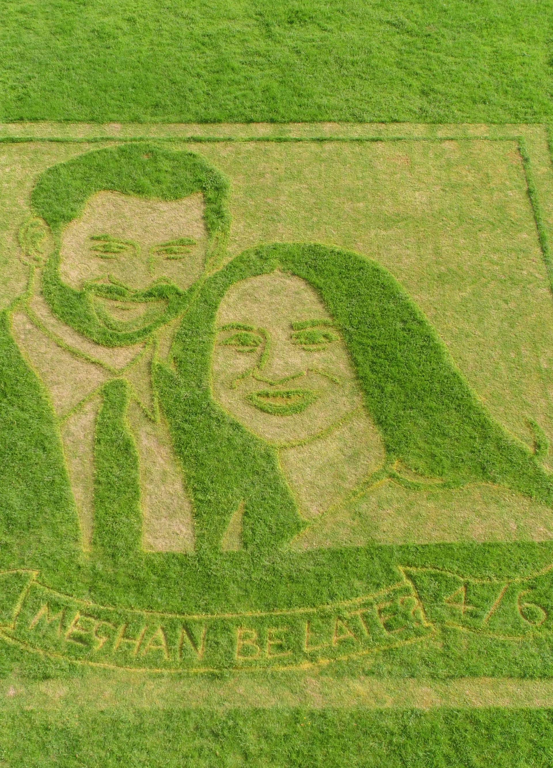 Royal wedding lawn art