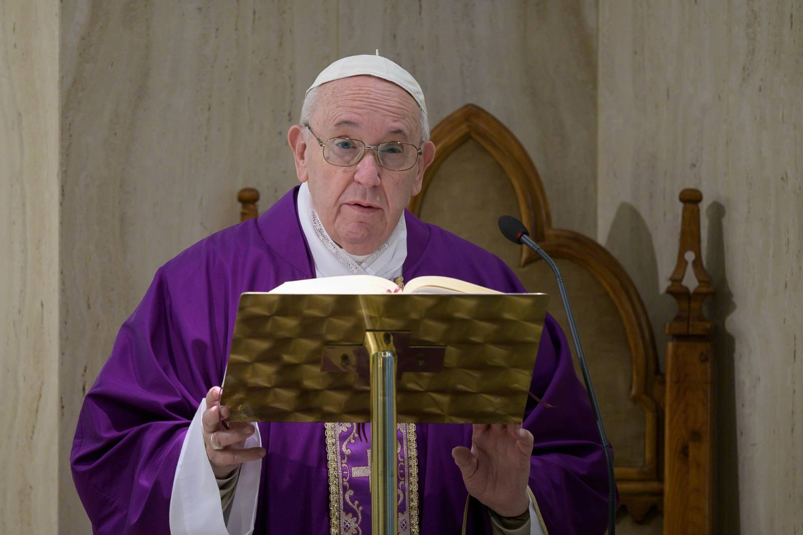 March 21,2020  : Pope  Francis celebrates a mass in Saint Marta at the Vatican