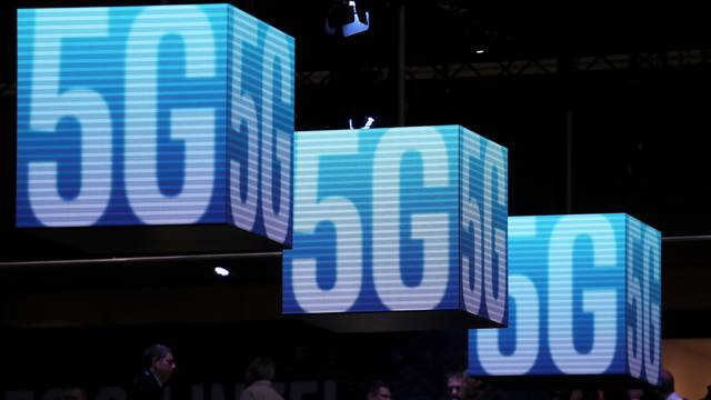 Hanging cubes display 5G logo at the Mobile World Congress in Barcelona