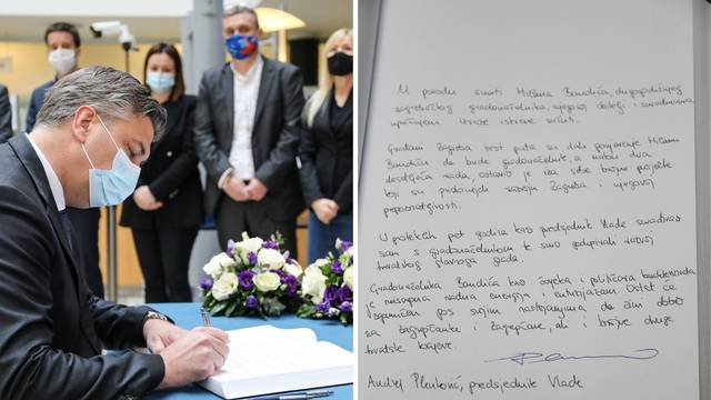 Plenković se upisao u Knjigu žalosti za Bandića, snimili su poruku koju je ostavio