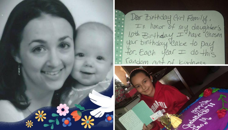 Na dan rođenja pokojne kćeri ona daruje tortu nekom djetetu