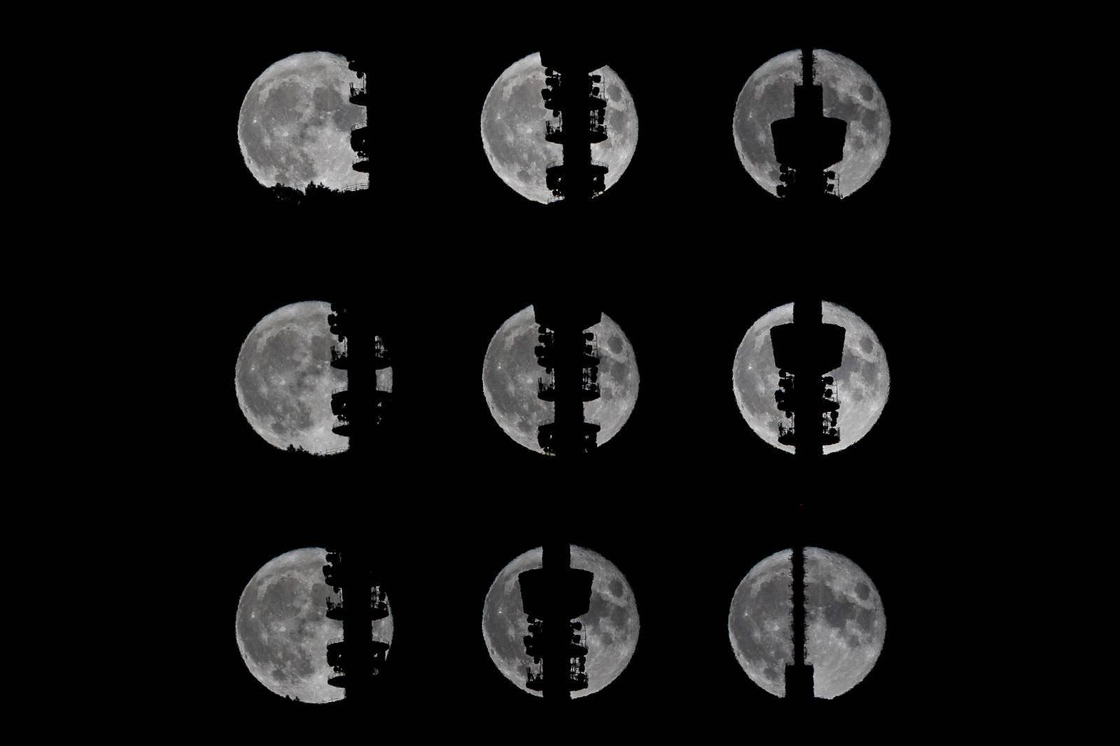 Prolazak punog mjeseca iz Radiotelevizijskog tornja Sljeme