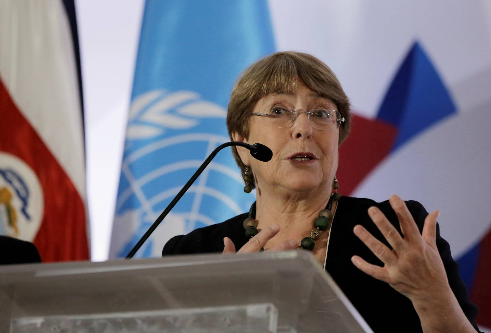 FILE PHOTO: U.N. High Commissioner for Human Rights Michelle Bachelet gives a speach during a forum on women of African descent in San Jose