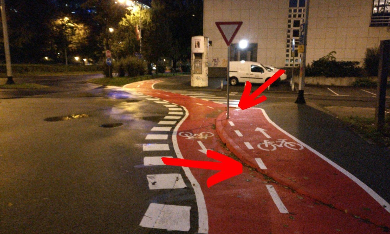 Ovo je nova biciklistička staza u Zagrebu: Malo po cesti pa malo preko rubnika, na sredini - stup