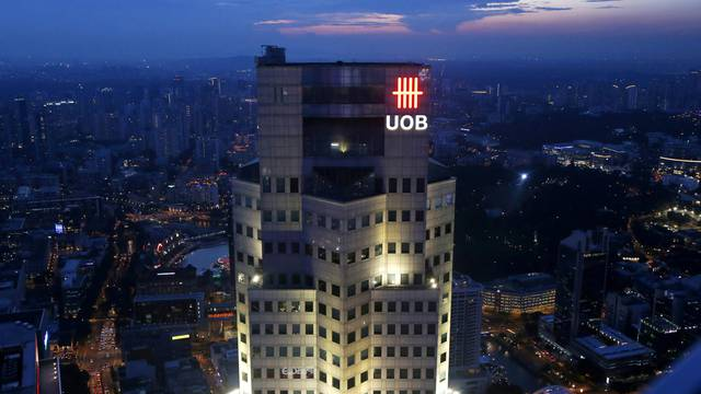 FILE PHOTO: The United Overseas Bank (UOB) Plaza building is pictured in the central business district in Singapore