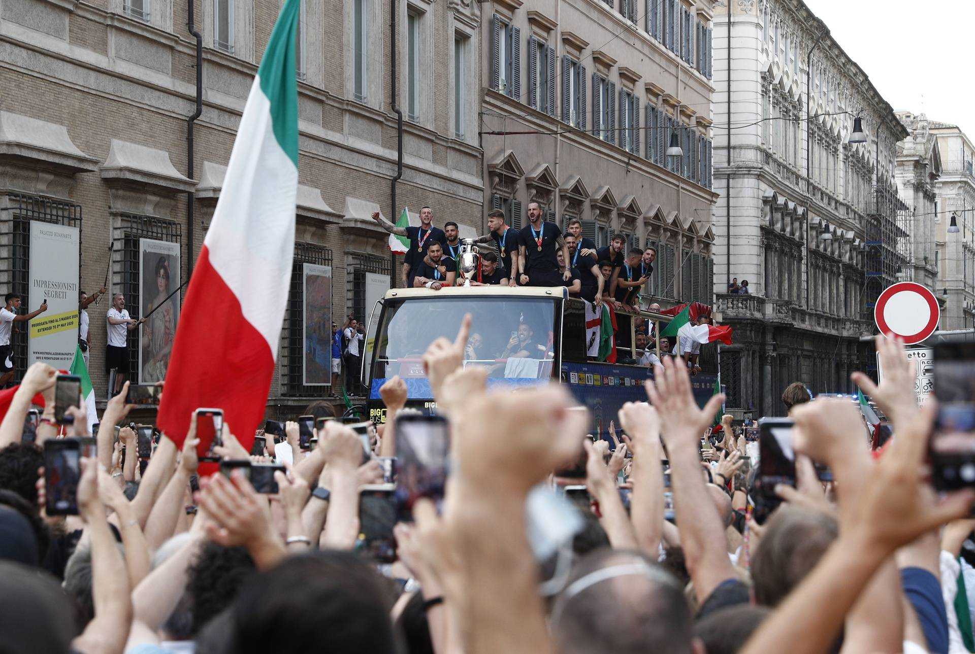 The Italy team drive through Rome on a open top bus tour after they won Euro 2020