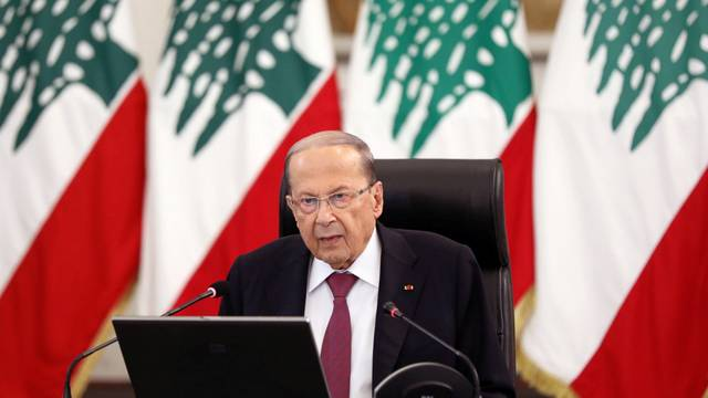 Lebanon's President Michel Aoun delivers a speech at the presidential palace in Baabda