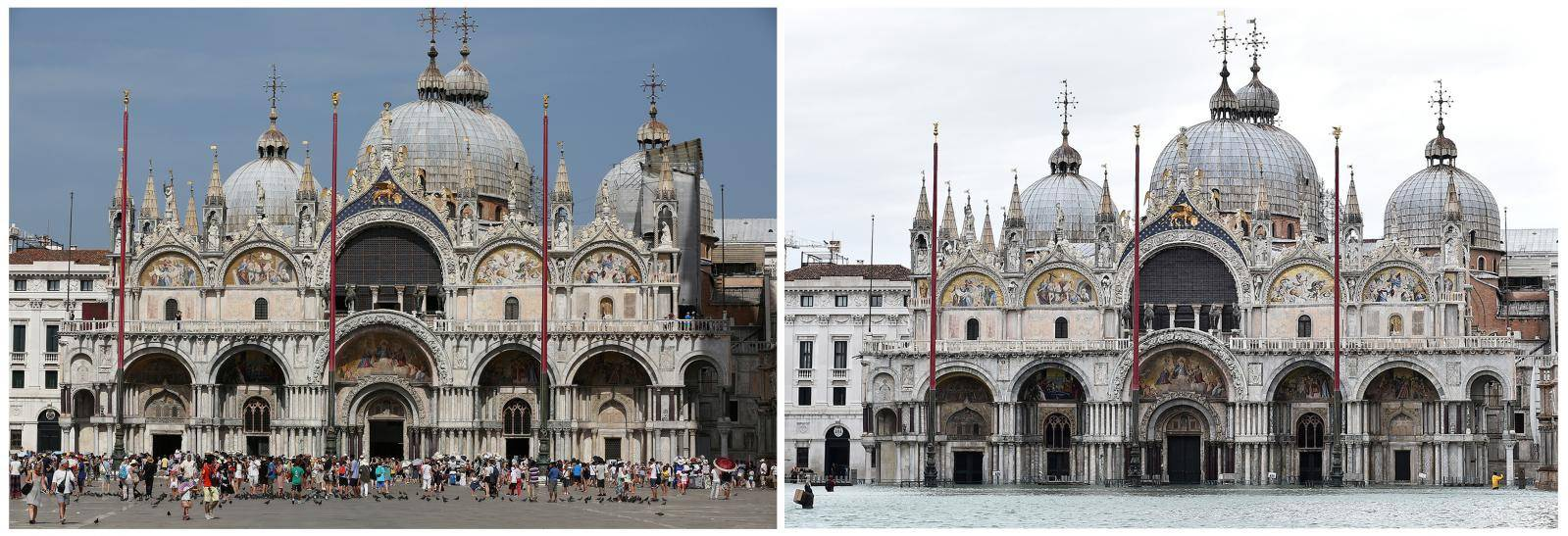 A combination picture shows St. Mark's Basilica before and after floods in Venice
