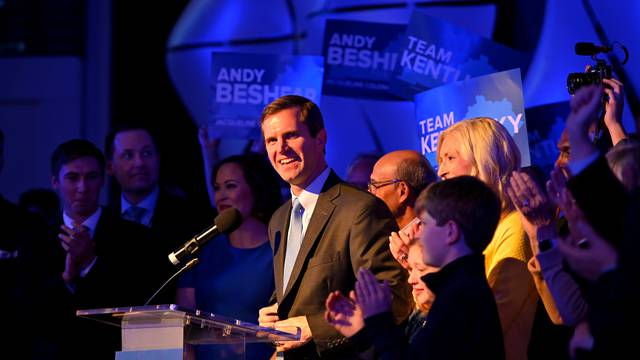 Kentucky's Attorney General Andy Beshear reacts to election results in Louisville