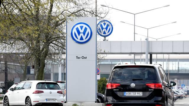 Volkswagen logo is seen at their plant in Wolfsburg