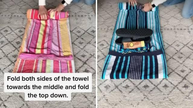 Fantastičan način kako smotati ručnike za plažu, i stvari u njih