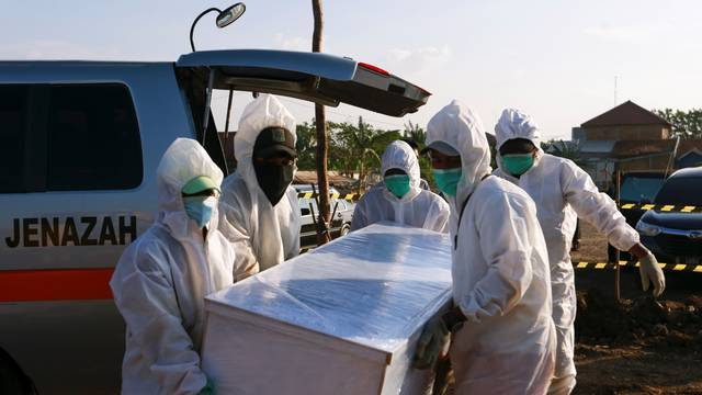 Burial area provided by the government for the victims of COVID-19 pandemic as cases surge in Jakarta