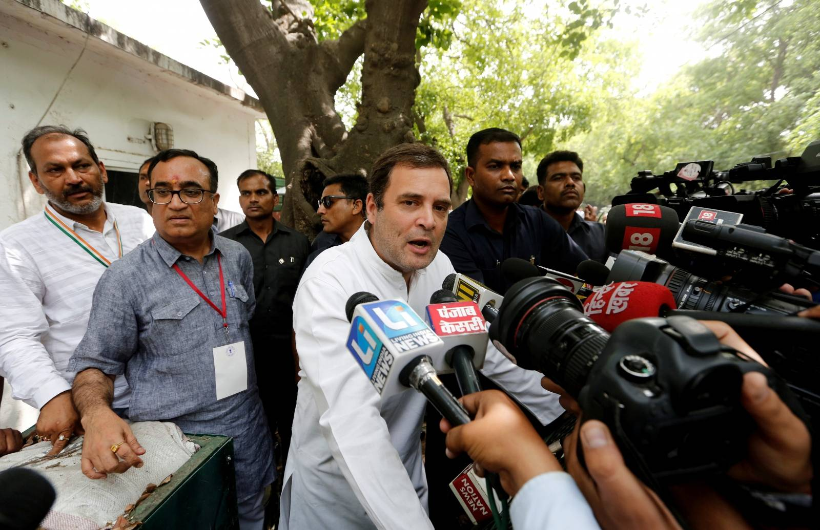 FILE PHOTO: Rahul Gandhi speaks after casting his vote during general elections in New Delhi