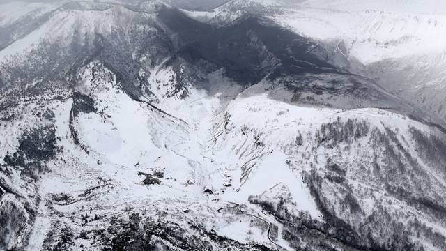 Photo taken from a Kyodo News helicopter shows the area surrounding Mt. Kusatsushirane